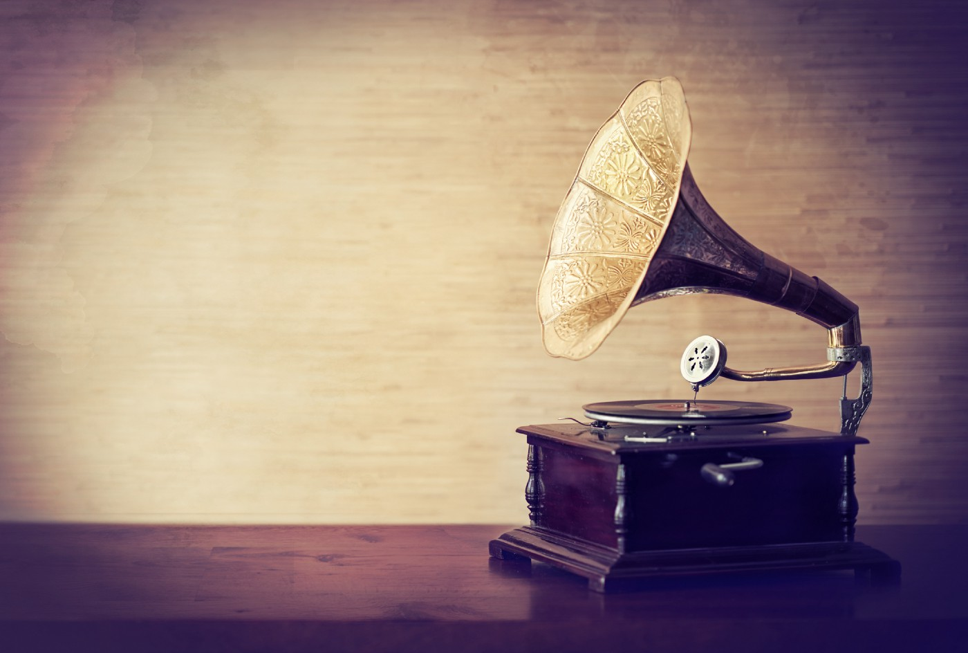 Vintage style shot of a gramophone.