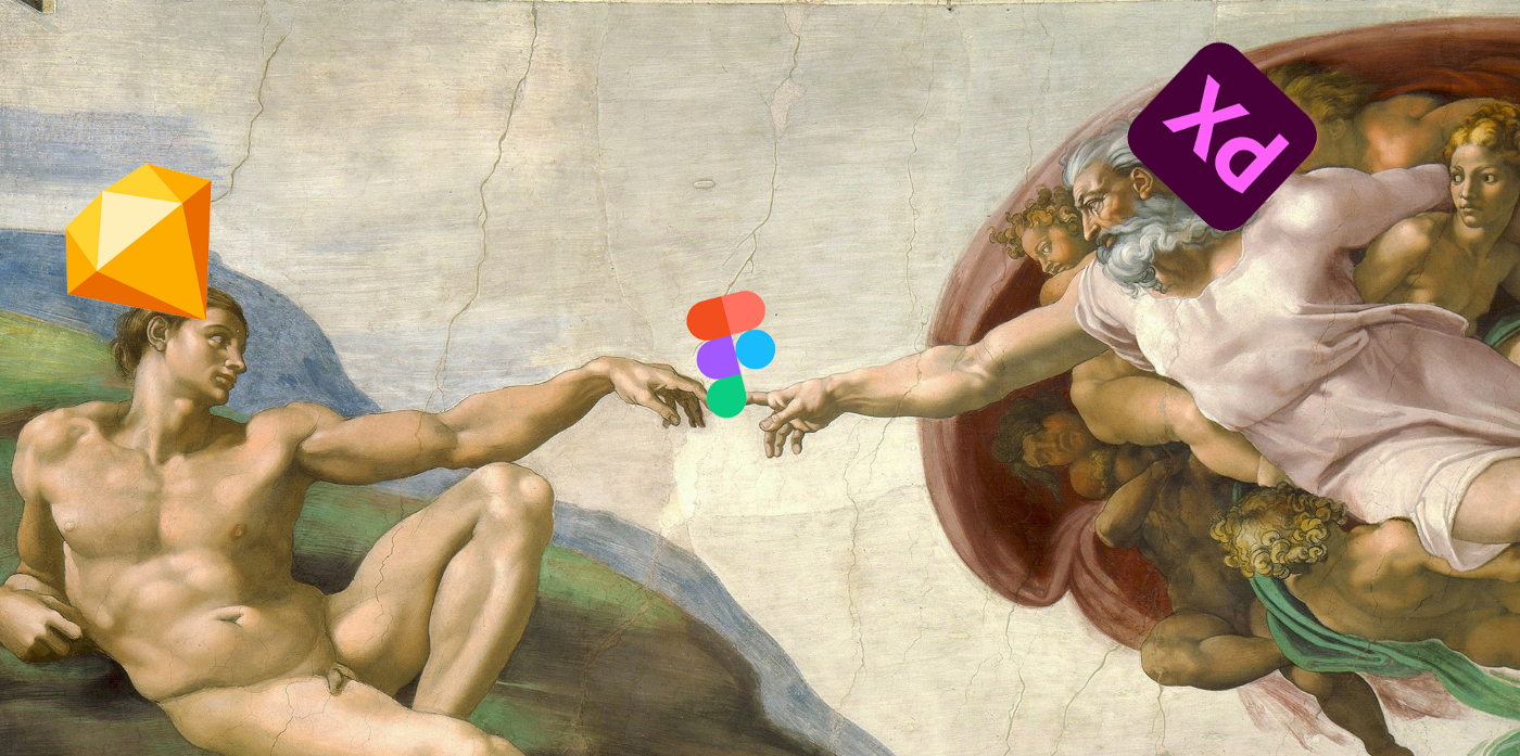 Michelangelo painting with the three prototyping tool logos pasted on the faces as a meme