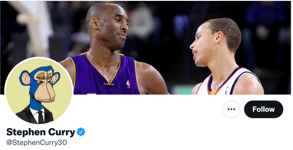 Stephen Curry's Twitter profile, sporting his Bored Ape Yacht Club Avatar