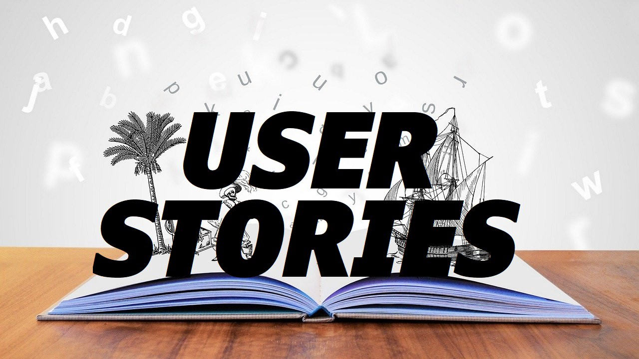 """An open book with pencil drawings of a sailing ship and a palm tree emerging from the pages. The words """"User Stories"""" are superimposed over the whole picture."""