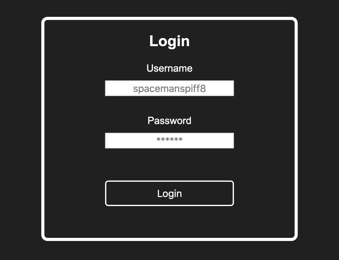 A simple login form with a title, labels for username and password, as well as a login button