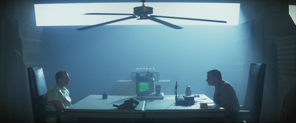 A scene from Blade Runner(1982) wherein Leon Kowalski is being subject to the Voight-Kampff test by blade runner Dave Holden.