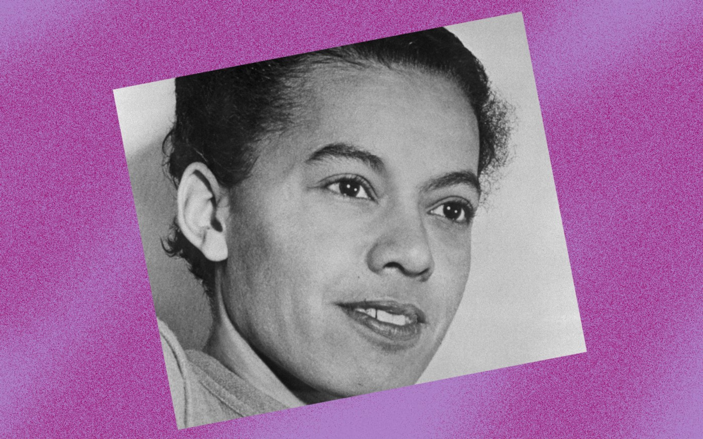Black and white photo of Pauli Murray against a violet background.
