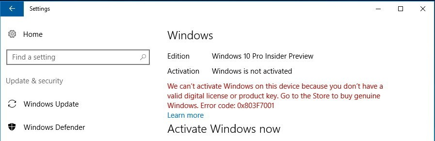 cant activate windows because you dont have a valid digital license or product key
