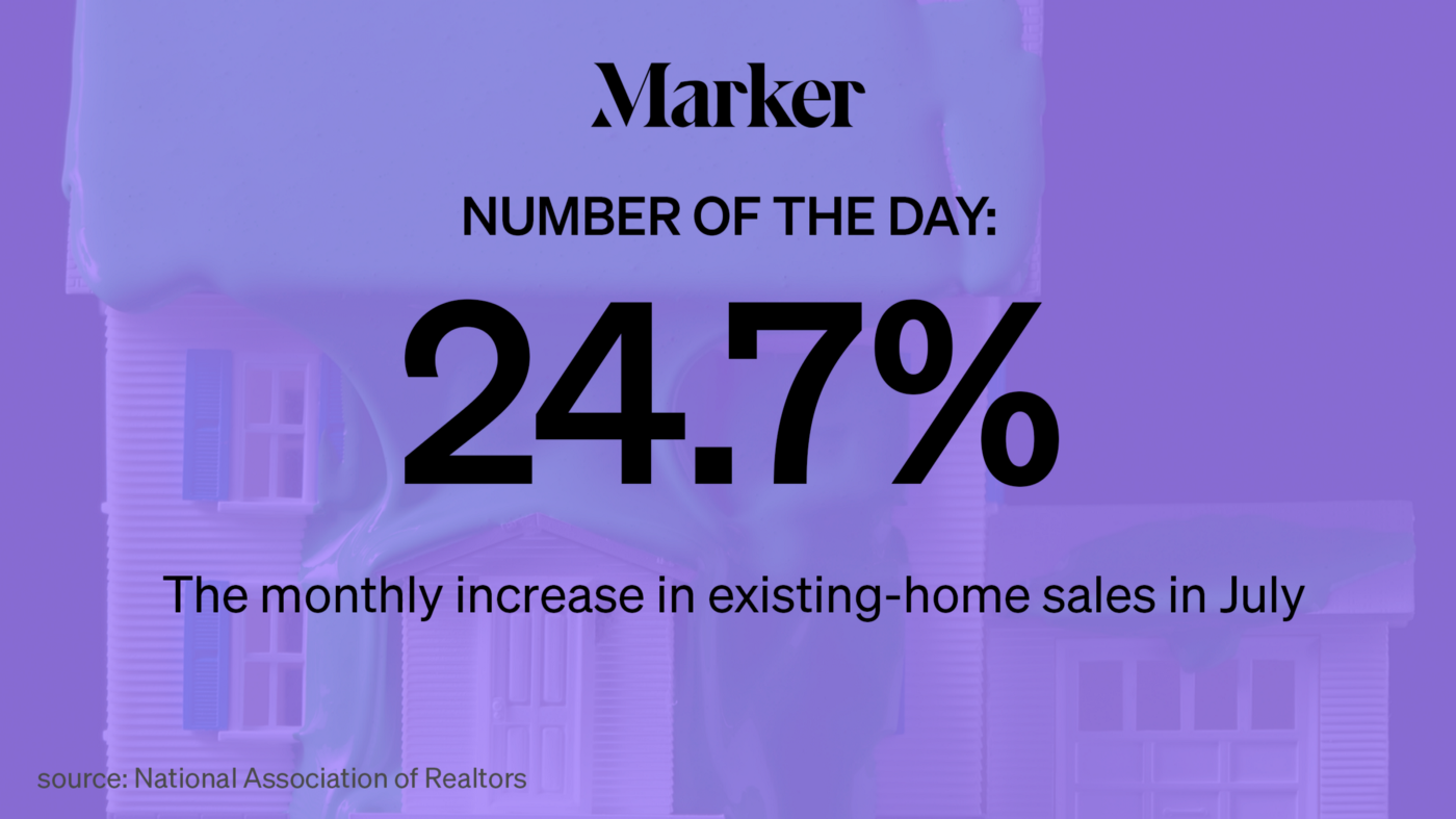 Marker # of the Day: 24.7%—The monthly increase in existing-home sales in July. Source: National Association of Realtors