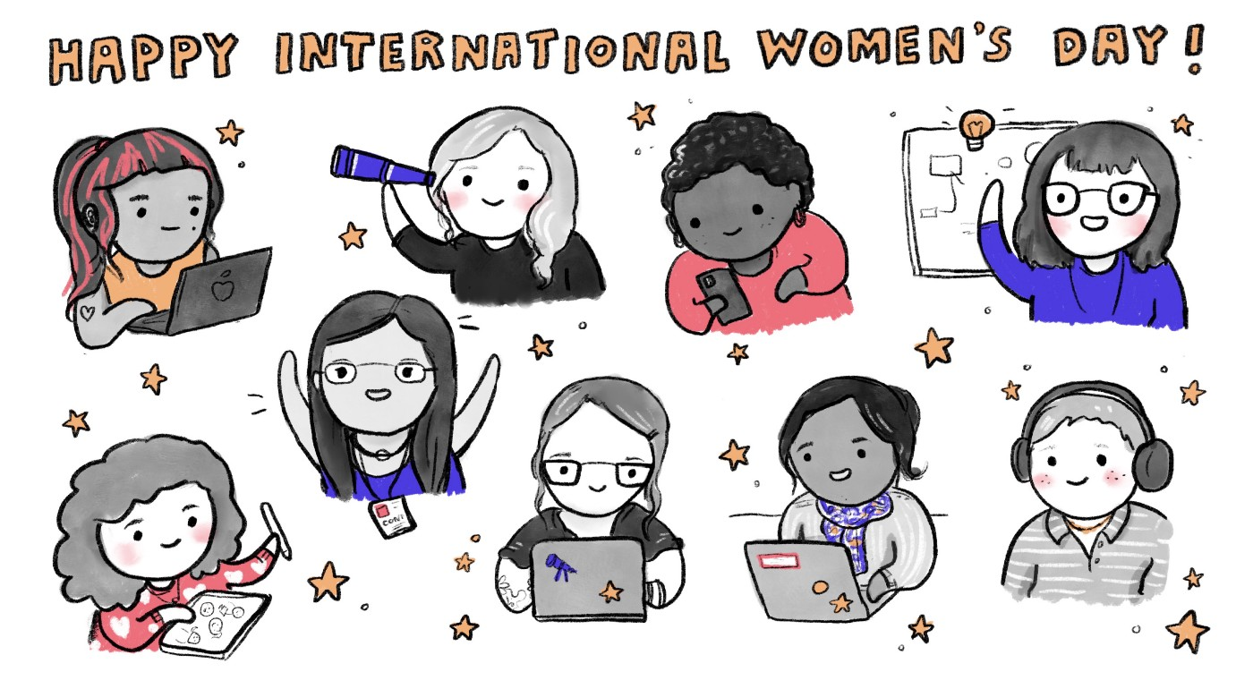 An illustration by Emily Griffin of some of the women who contribute to OpenTelemetry.