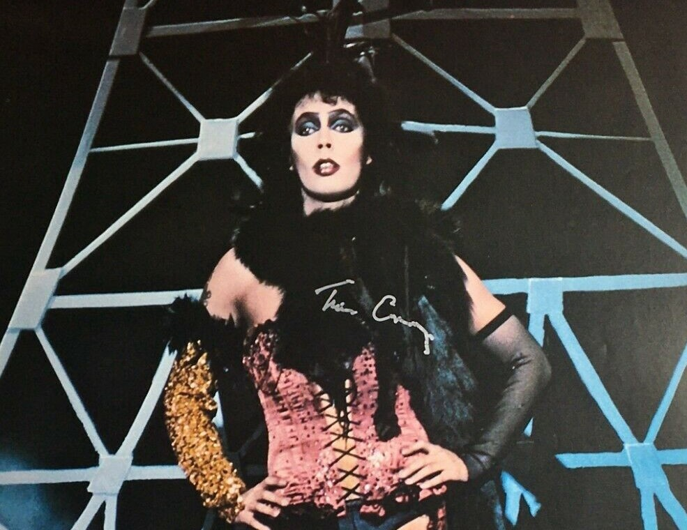 Detail of signed poster of Tim Curry in drag as Dr. Frank-N-Furter