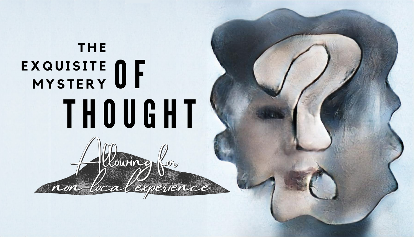 To the right, an abstract human face is painted within a wavy, cloud-like outline. Incorporated into the face is a question mark. To the left, the title, super-imposed on a rising and falling shape.