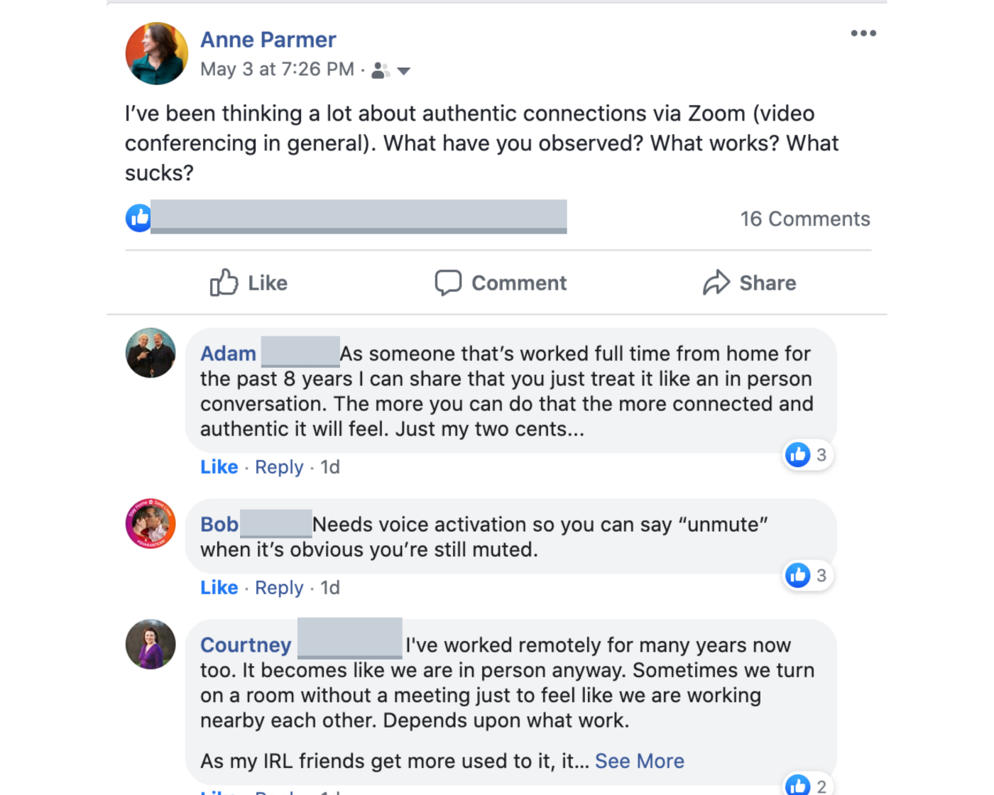 Some comments from my facebook feed about connection via video.