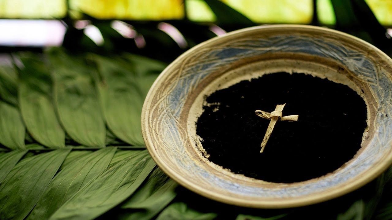 Clay bowl filled with ashes and a cross made of palm, sitting on some green palm leaves.