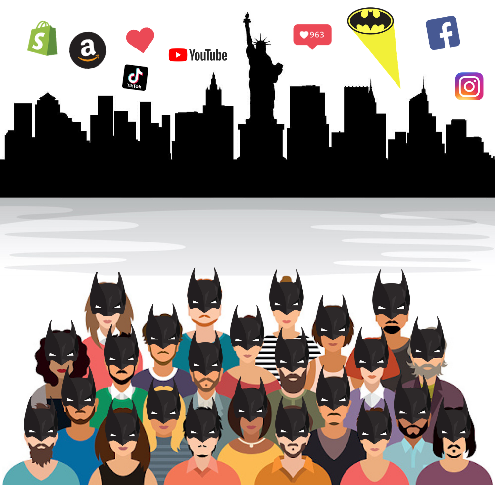 Group of diverse millennials wearing Batman masks with cityscape in the background and social media icons floating above.