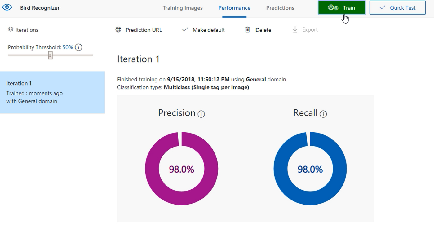 Image recognition using the Azure Custom Vision Service