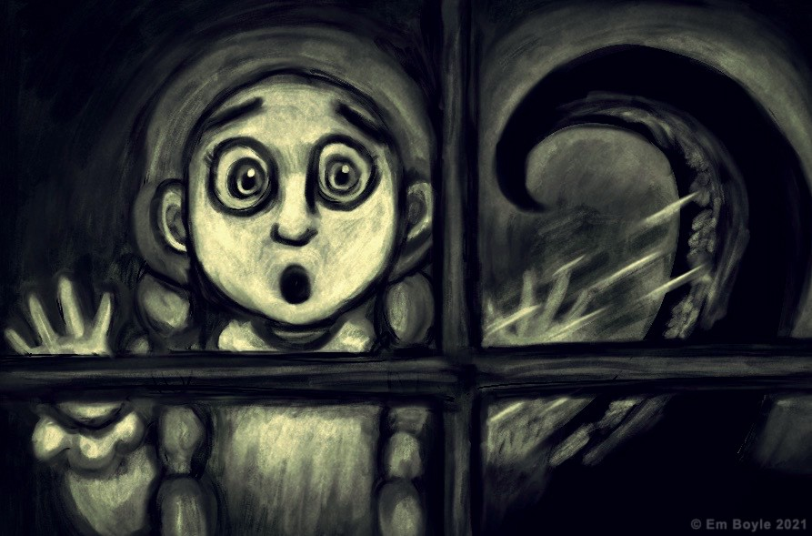 A terrified girl looks out a window, at an enormous shape beyond.