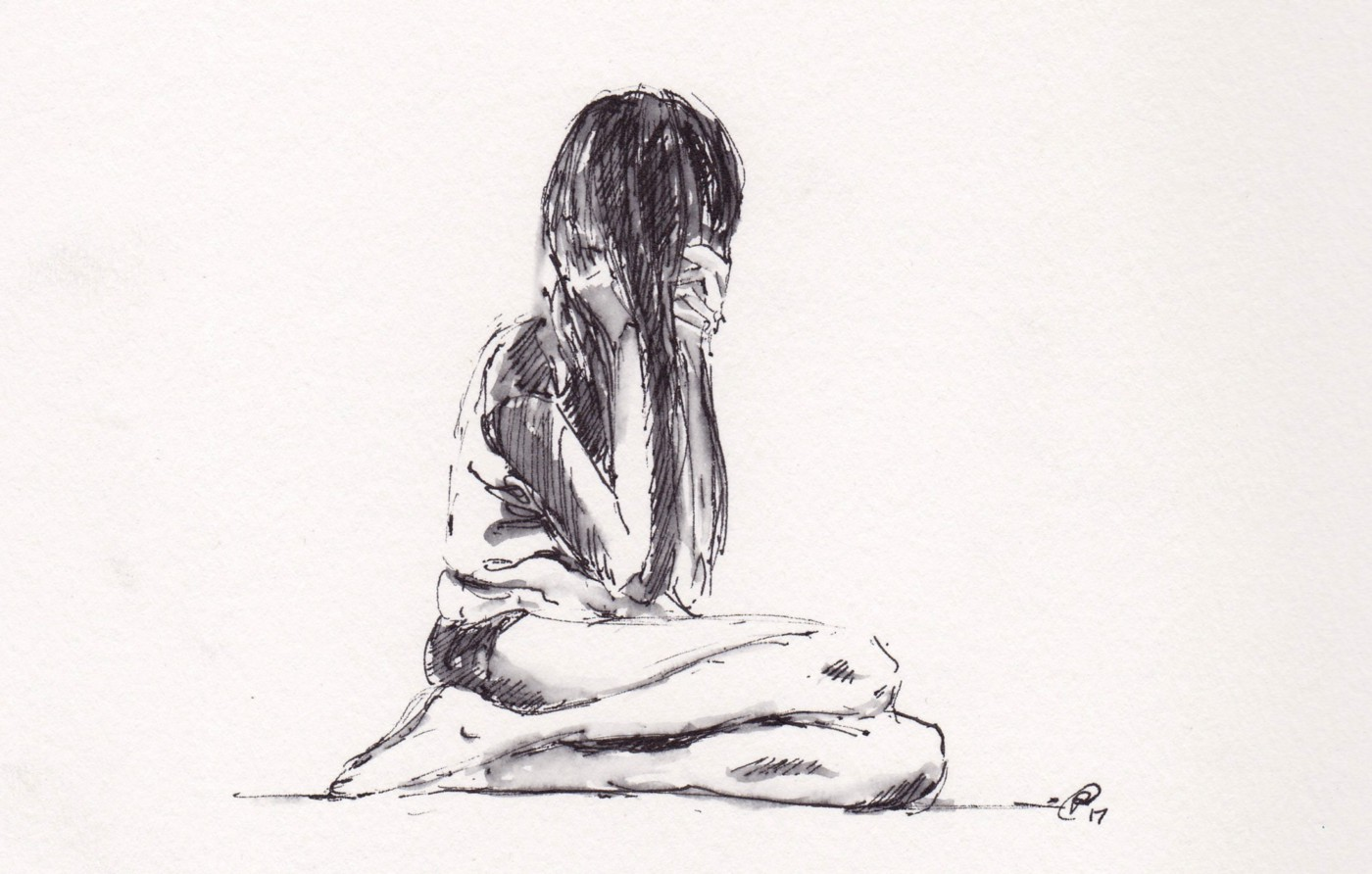 Ink drawing of a woman hiding behind her hair.