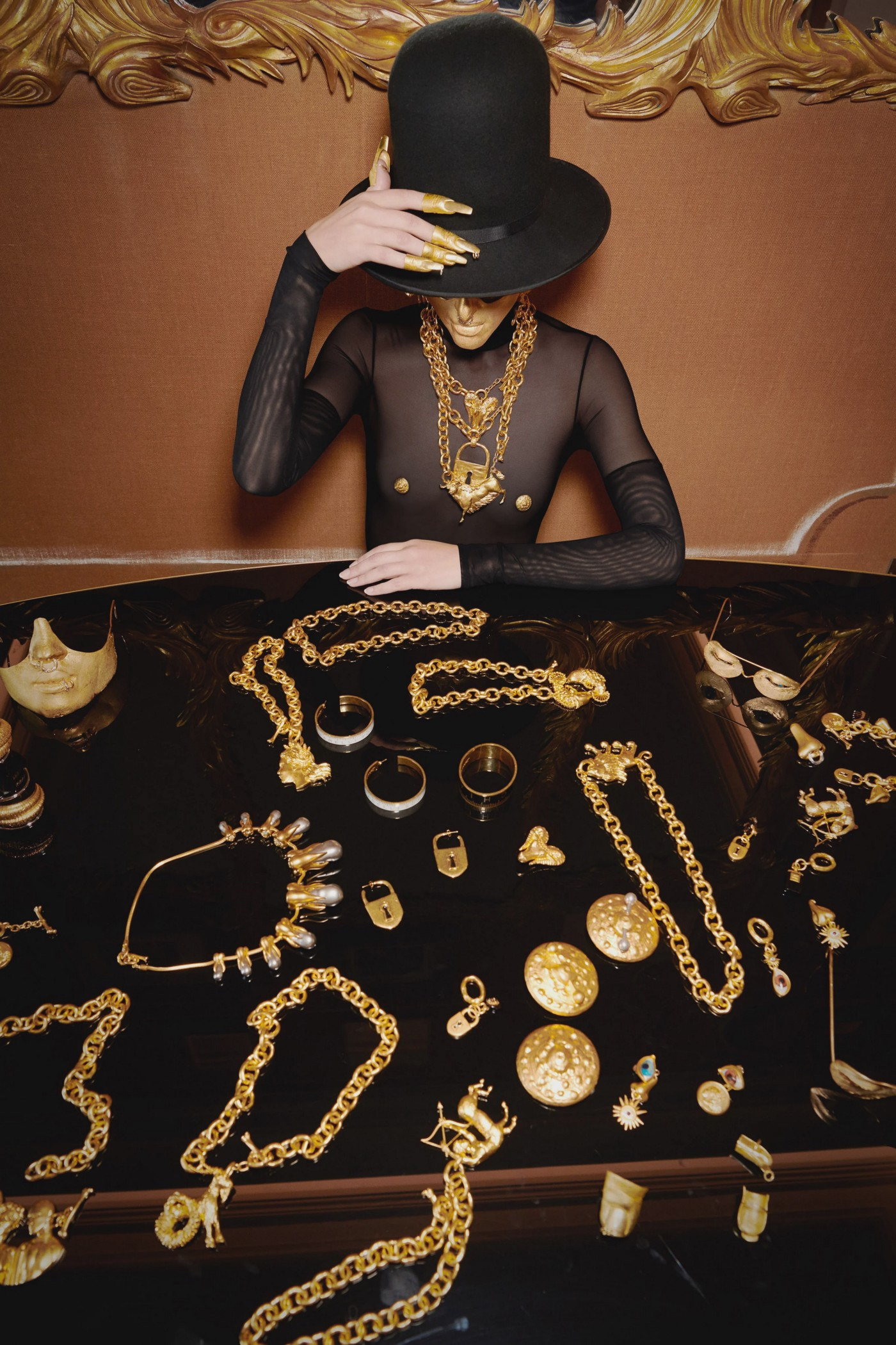 Model in front of Schiaparelli SS21 jewellery collection from their campaign