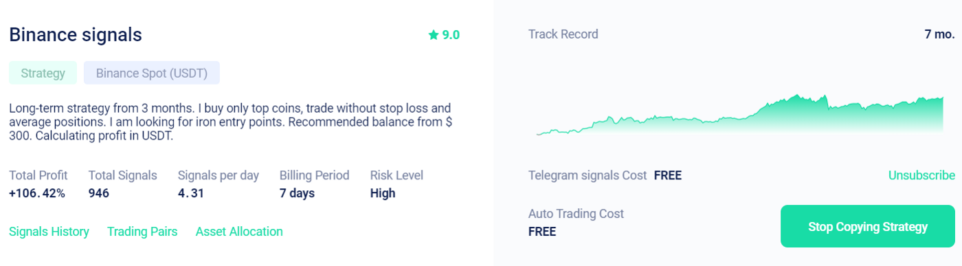 Copy trading page: Strategies rating