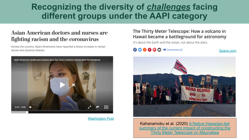 Newspaper headlines on the rise of racism against Asian American doctors and nurses, and the Thirty Meter Telescope debacle.