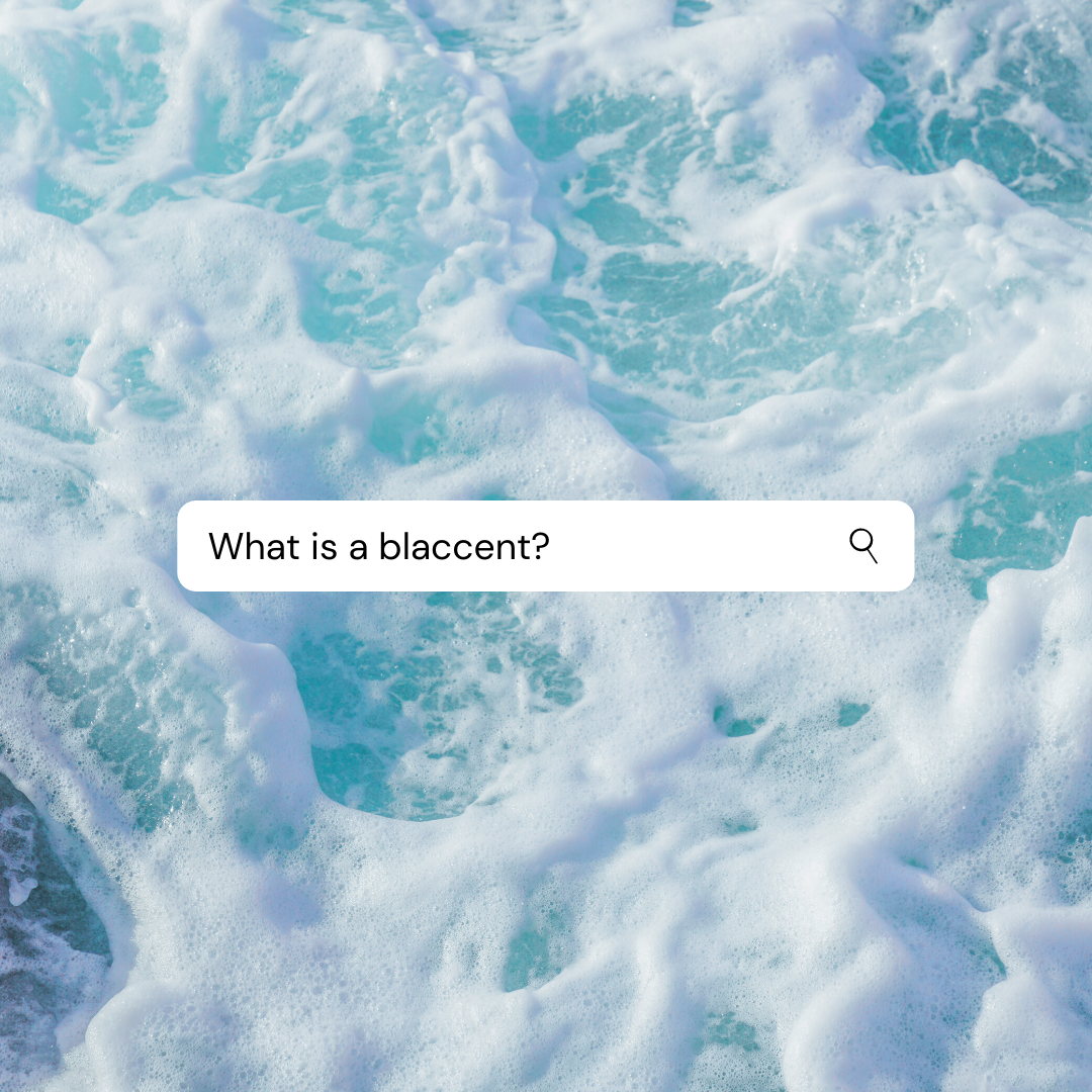 """""""What is a blaccent?"""" in a search bar."""