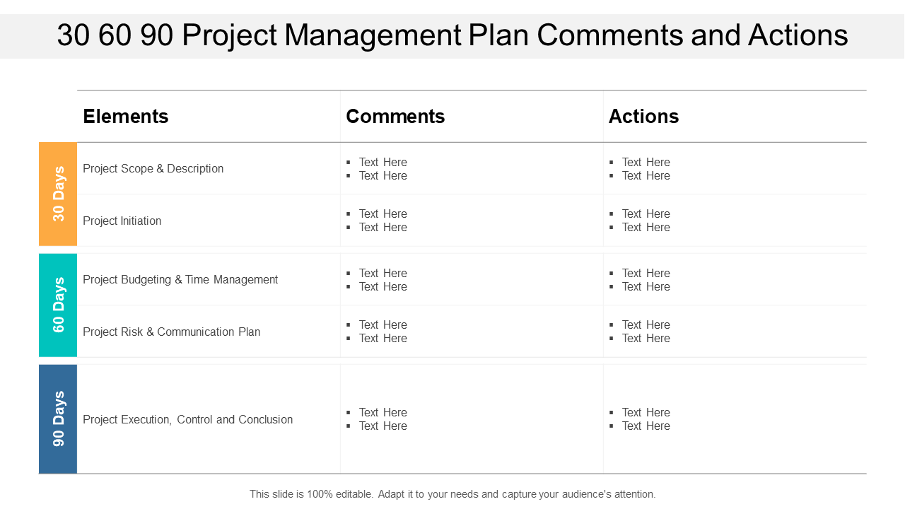 30 60 90 Day Project Management PPT Template