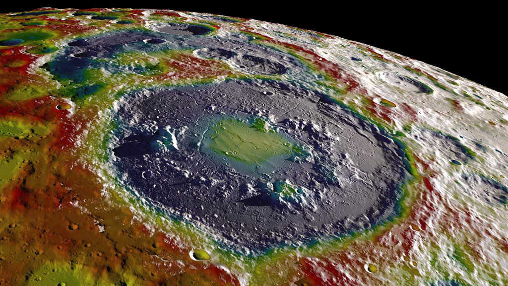 A large basin near the south pole of the Moon, showing differences in gravitation from one region to another.