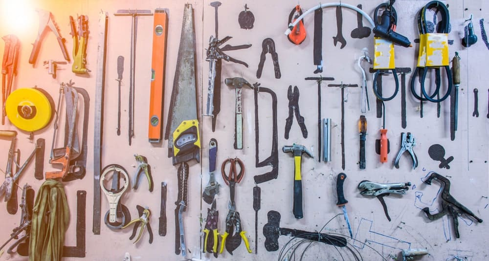 A collection of handyman tools.
