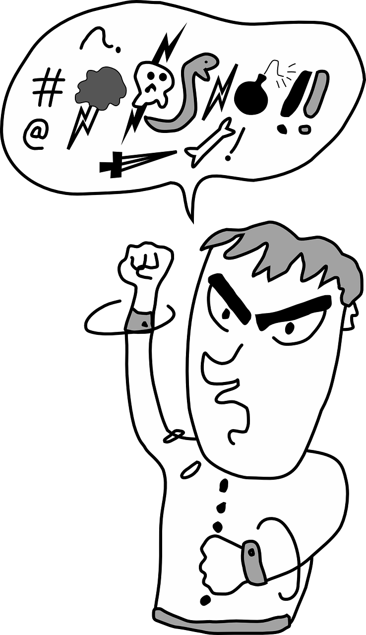A black and white line drawing of a man with thick eye brows holding his fist in the air and swearing