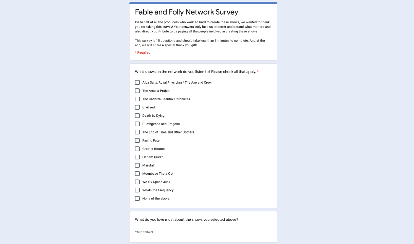 A screenshot of the first two questions of our online survey built in Google Forms.