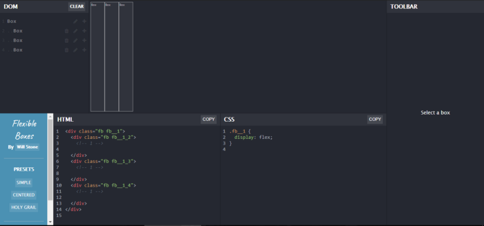 three initial columns at the top, also there are HTML & CSS Codes for your flexbox