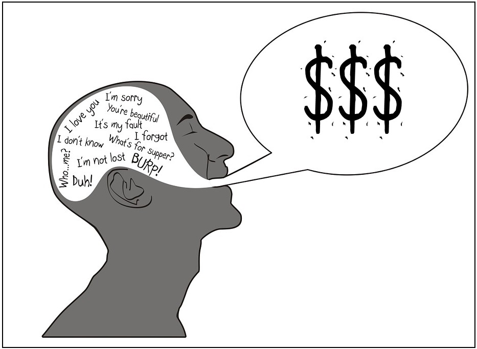 Man's head full of thoughts, word bubble with dollar signs
