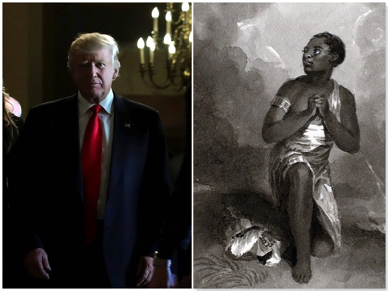 Left image is Donald Trump obscured by low lighting, right image is a black and white illustration of a praying Black woman.