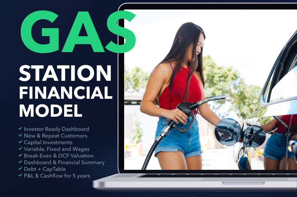 Gas station business plan financial model excel template