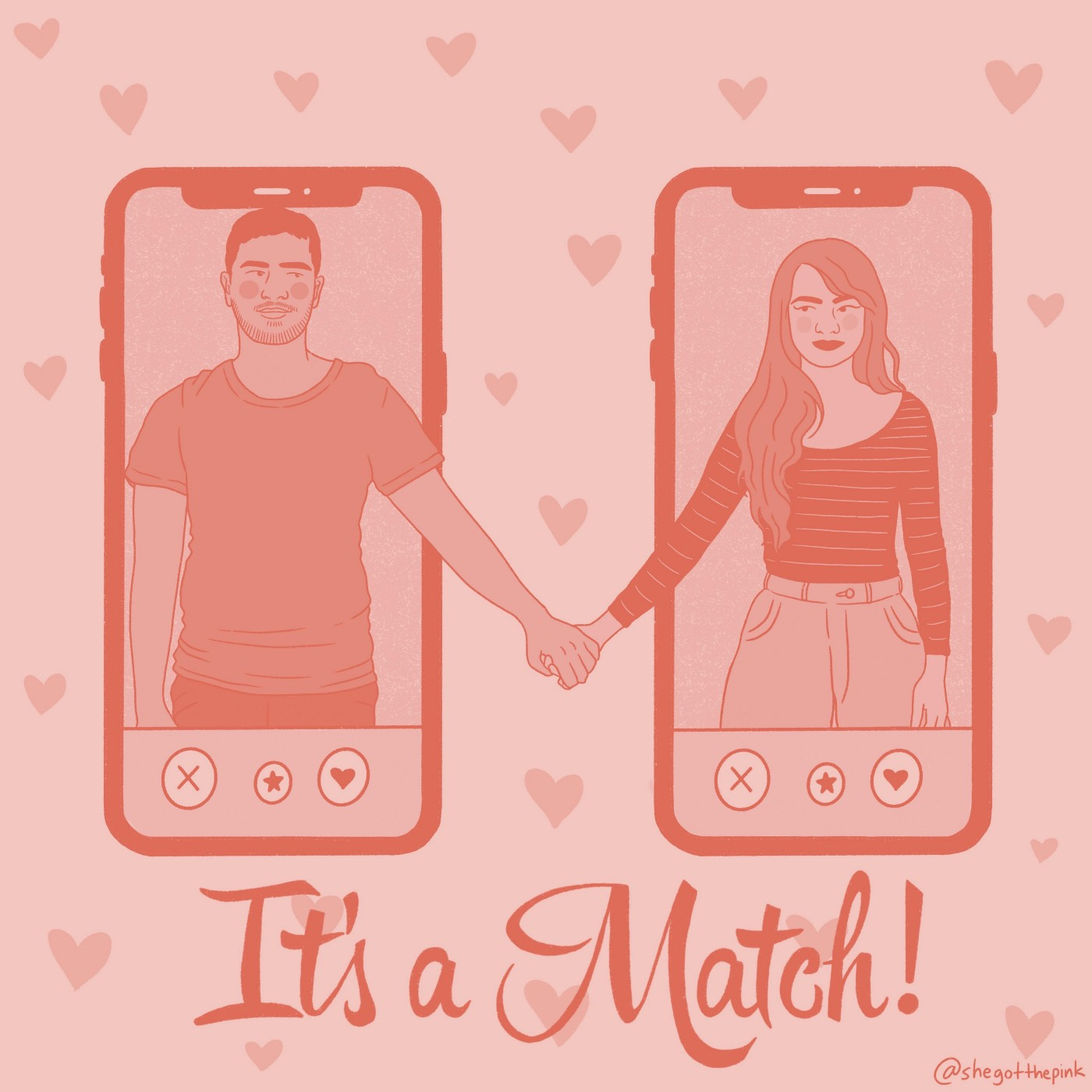 2 cell phones held next to each other with a person on each screen. The people are holding hands on a background of hearts.