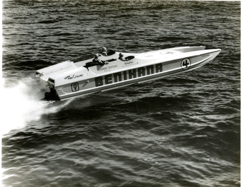 """Old photo of Rocky Aoki in his offshore power race boat named """"Behihana"""""""