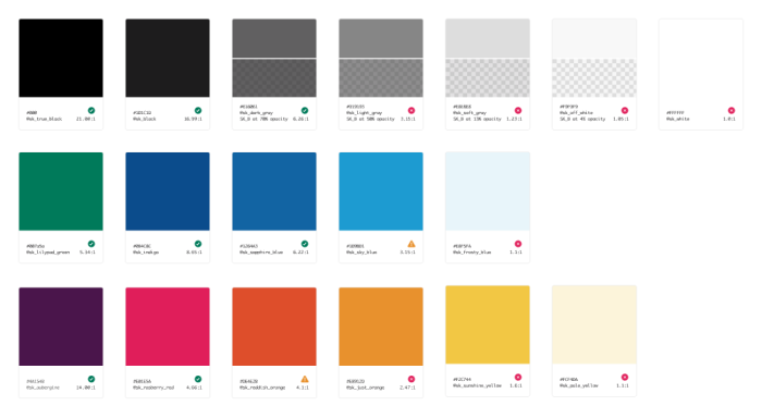 Slack's new color palette on all platforms: 18 colors!
