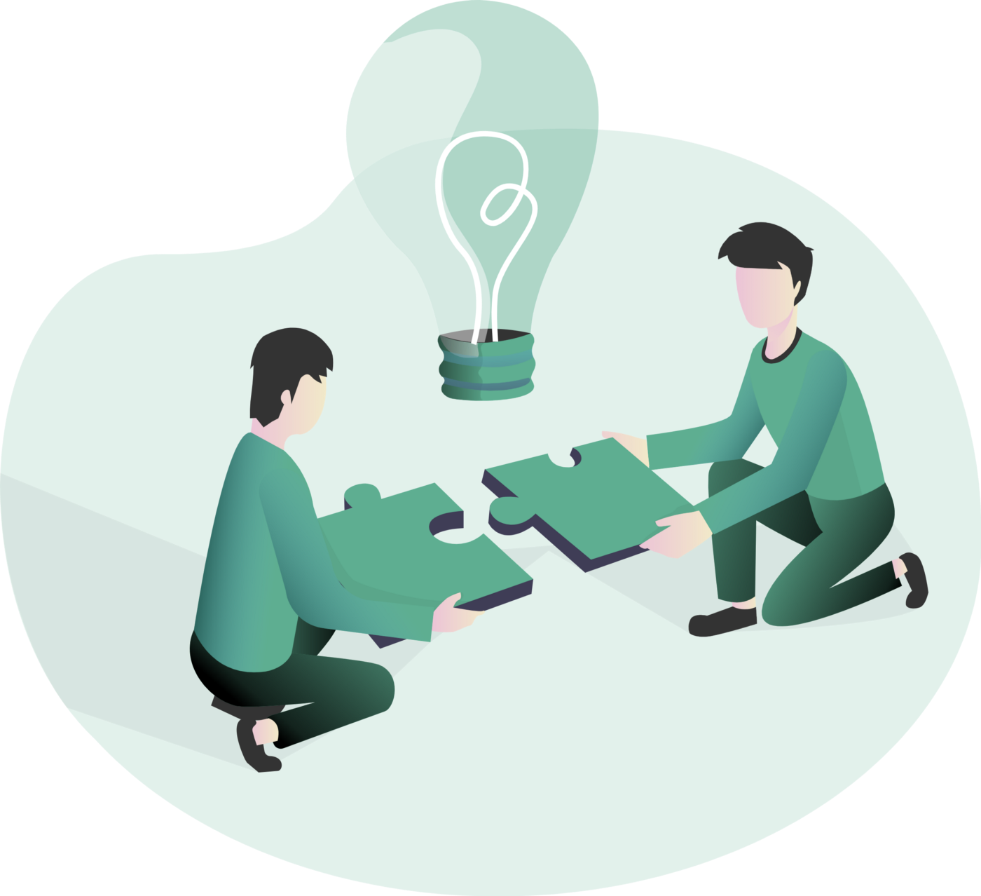 Two individuals holding puzzle pieces with a light bulb in the middle symbolizing problem-solving.