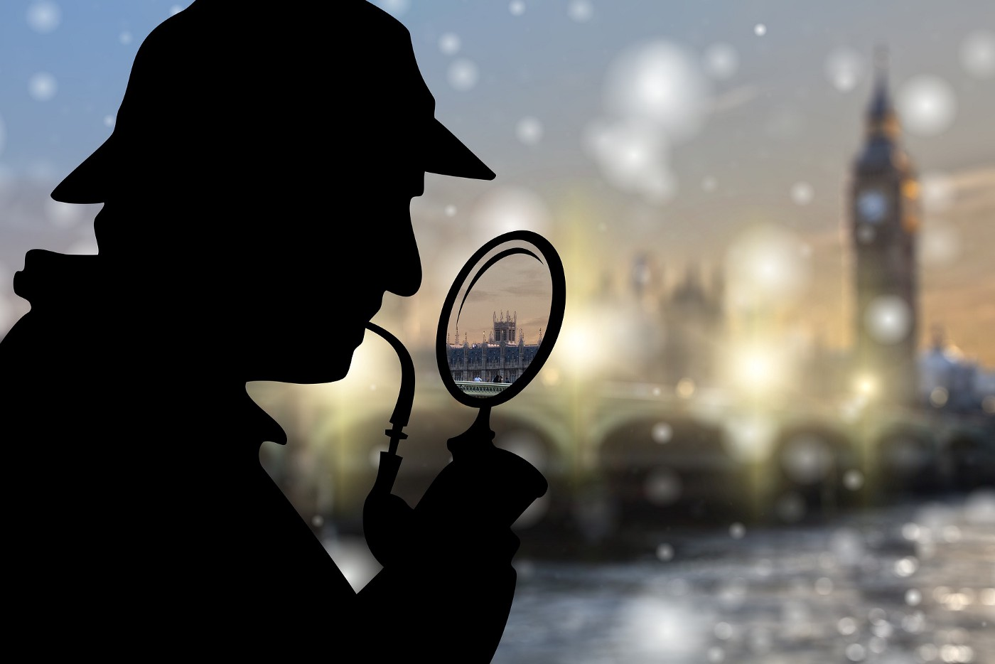 Sherlock Holmes with a magnifying glass.