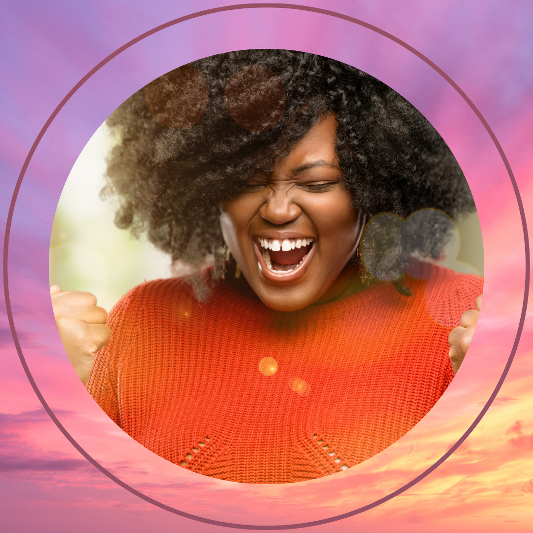 An excited Black woman enjoying her success. Cover image for habits of successful people.