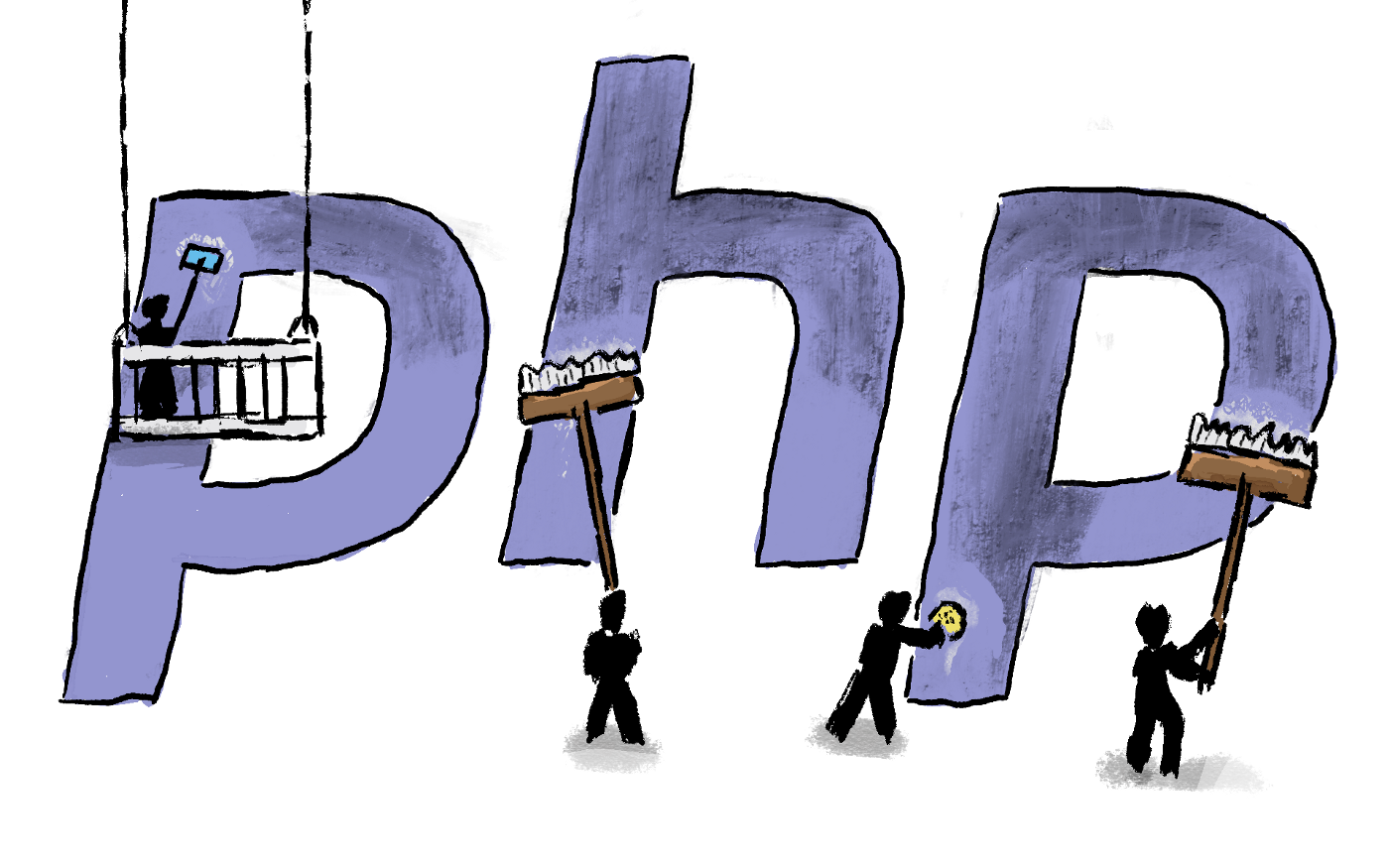 Small people cleaning up the PHP logo
