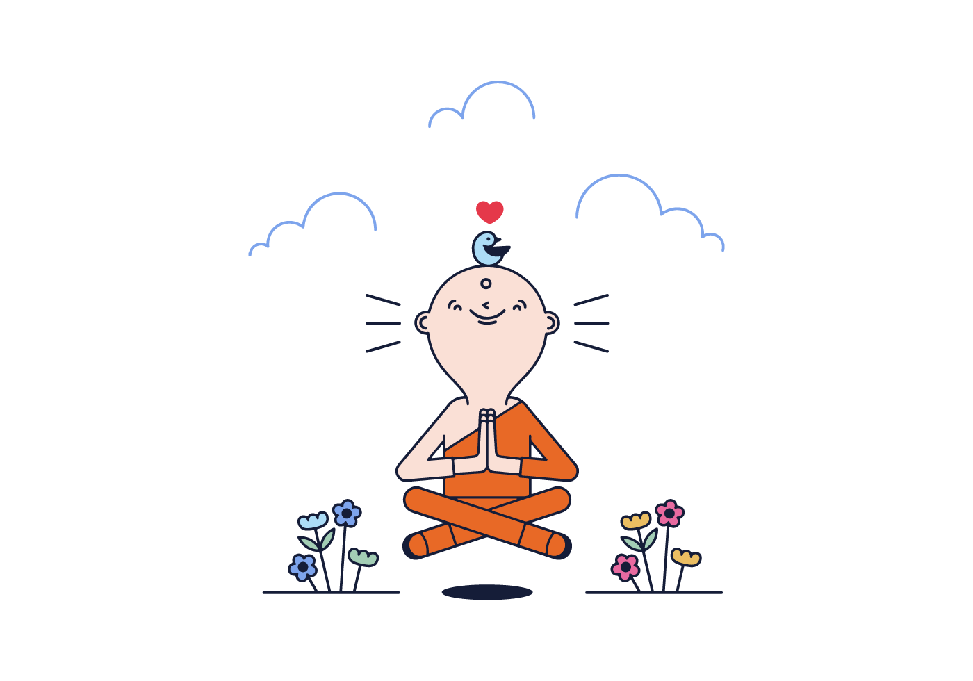 monk in meditation vector image