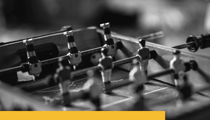 black and white foosball table