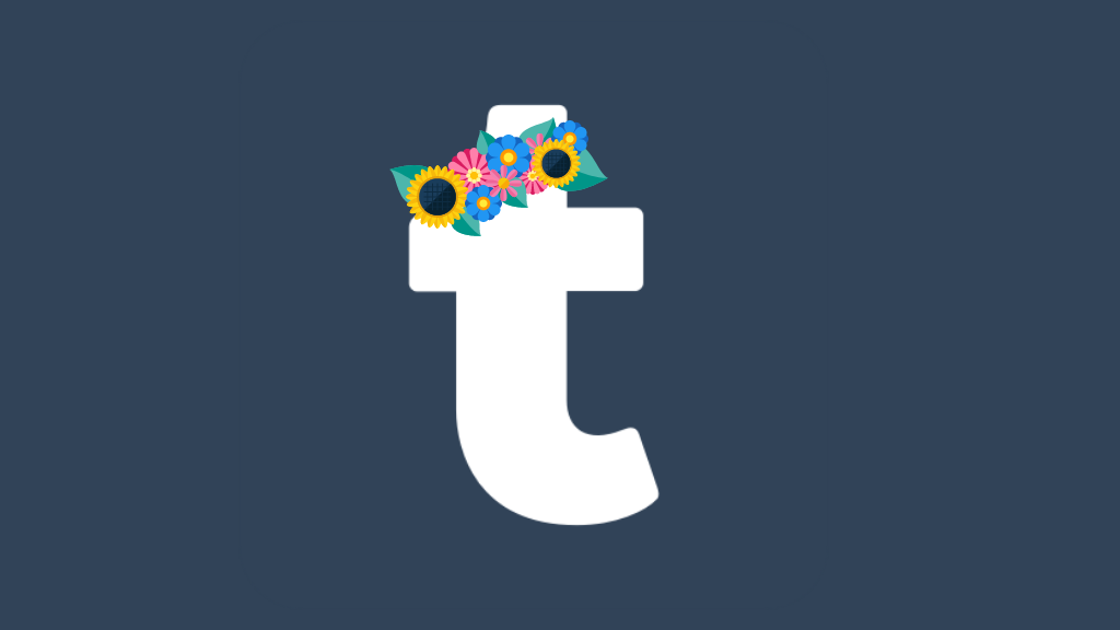 The Tumblr 'T' logo with a cartoon flower crown sitting over the top of the T