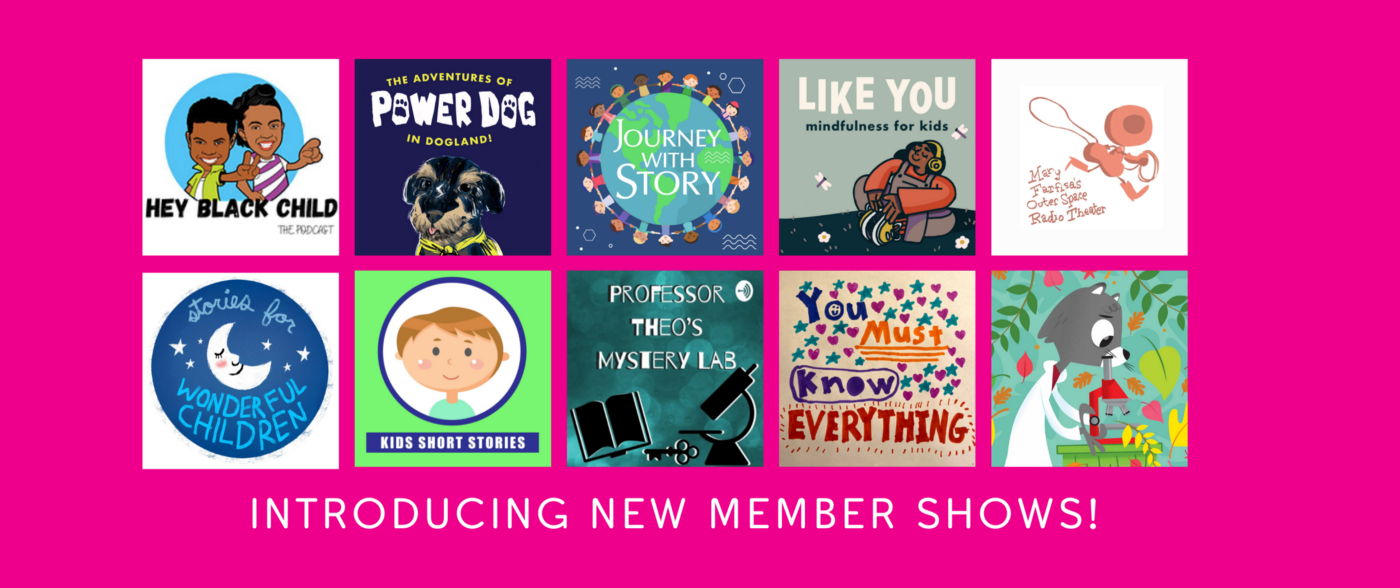 A grid of podcast cover art for newer member shows listed in article below.