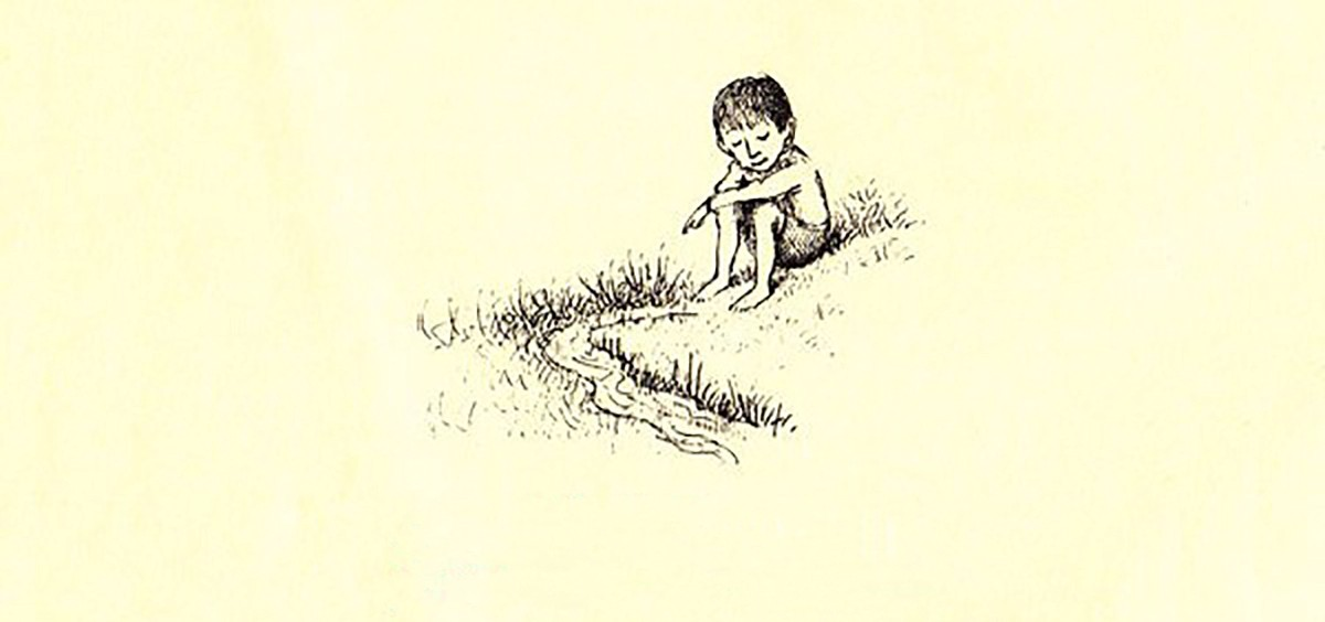"Maurice Sendak's classic illustration: ""Everyone should be quiet near a little stream and listen"" from the children's book Open House for Butterflies by Ruth Krauss."