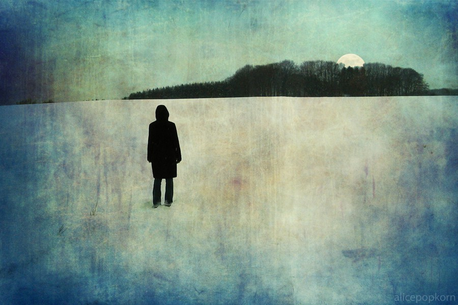 Watercolor-like illustration of a person standing on a snowy field with their back to the viewer, watching the sun set over a cluster of trees on the horizon.