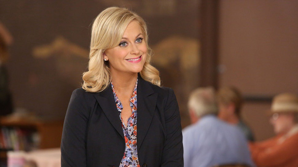 Amy Poehler playing Leslie Knope on NBC's Parks & Recreation television show.