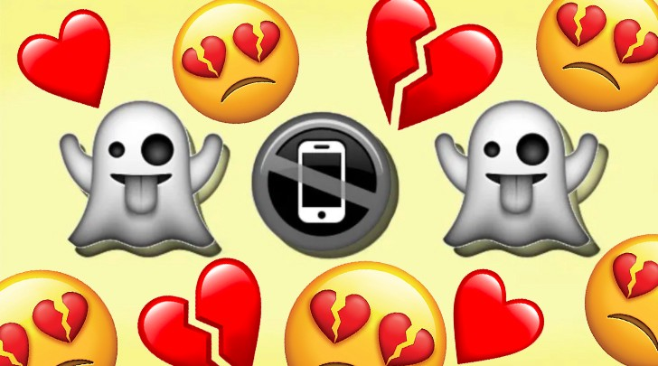 ghost and broken heart emojis with crossed out phone icon