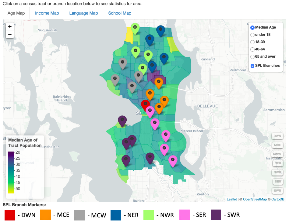 Browser application with maps of Seattle