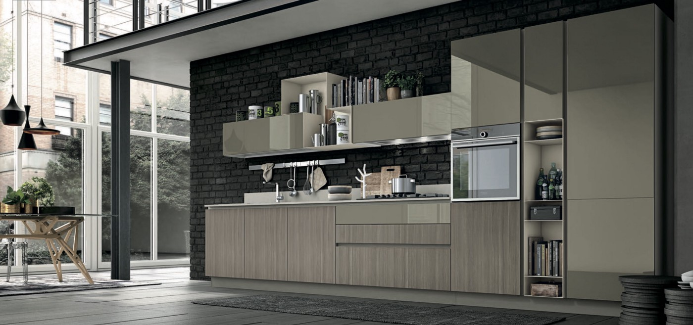 Stosa India: Straight Line modular kitchen design in Aliant+Replay