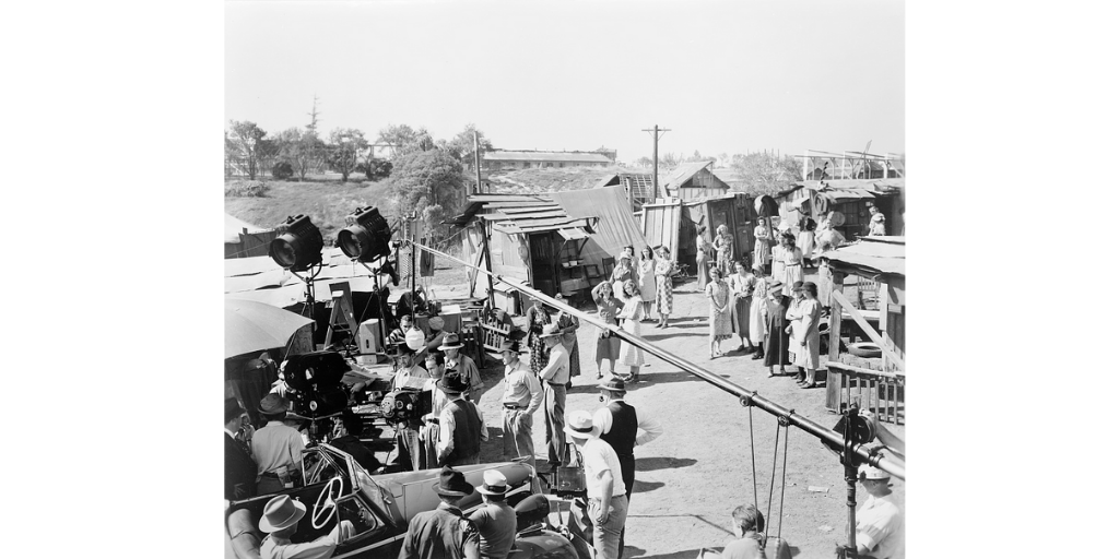 Film crew and actors on the set of 'The Grapes of Wrath'