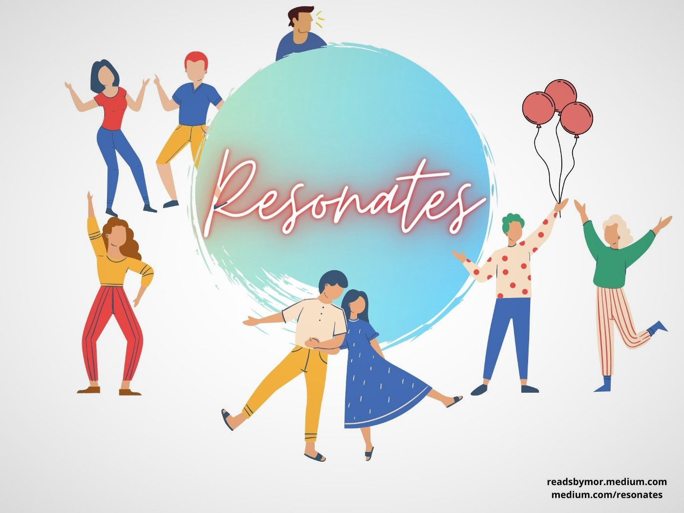 A number of people around the RESONATES logo.